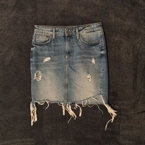 H&M Distressed Denim Jean Skirt